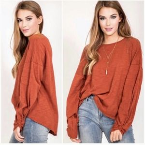 Love Riche rust colored long sleeved cotton top